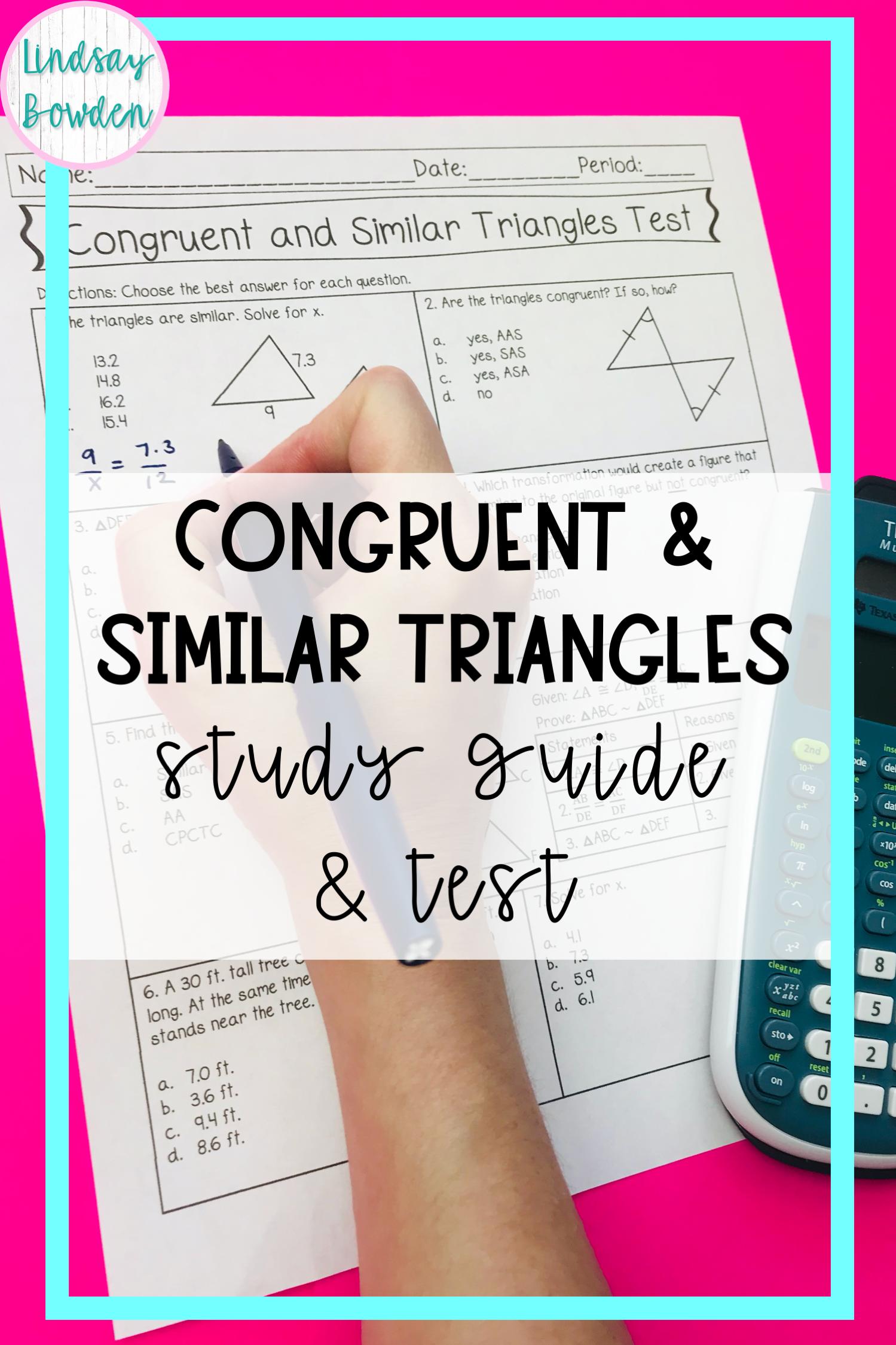 Congruent Triangle Notes SSS, SAS, ASA, AAS, HL