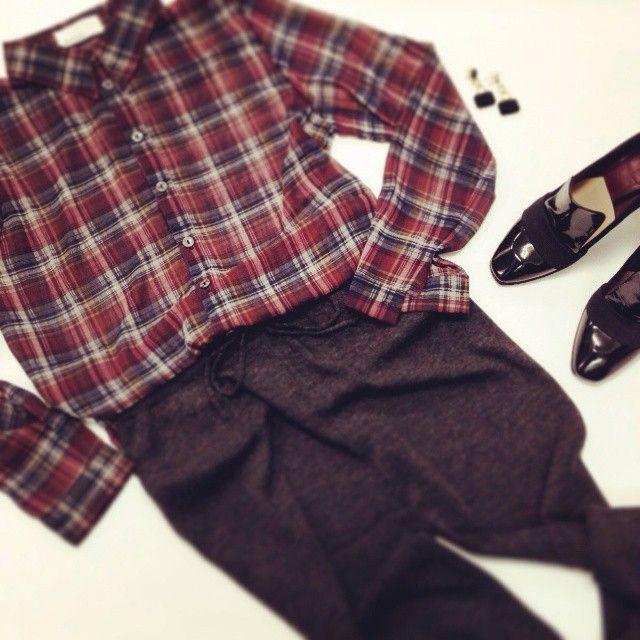 Plaid shirt, sweat pants,2013AW