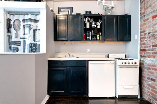 150 Sullivan Street Nyc Studio Apartment Kitchen With The Shower In The Kitchen Oak Kitch Painting Kitchen Cabinets Kitchen Cabinets Studio Apartment Kitchen