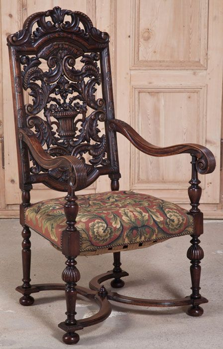 Antique French Louis Xiv Tapestry Armchair Antique
