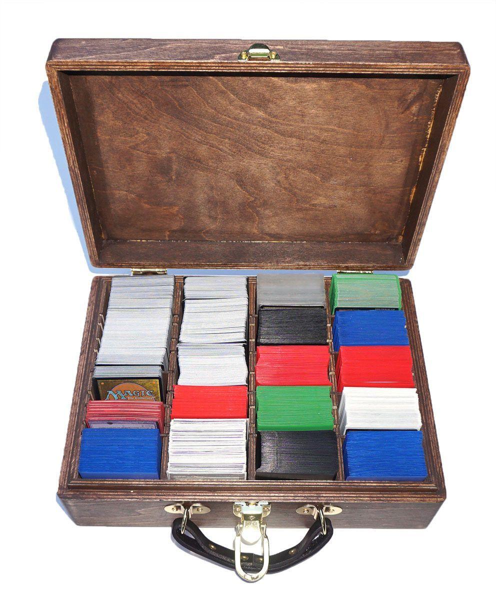1500+ Carrying Case Wood Deck Box For Magic The Gathering Kaijudo Ntrunner  Pokemon Munchkinrunner