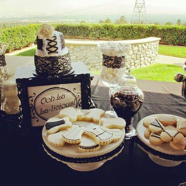 The Ooh La-La-licious Desert Table spread for a Black and White Lingerie Bridal shower!
