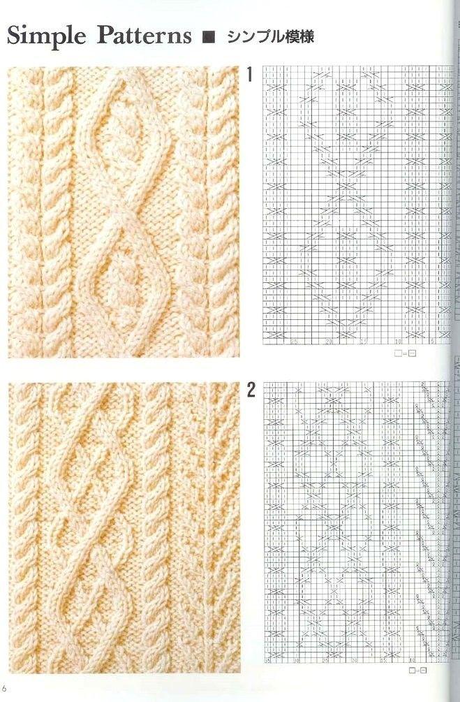 Узор для вязания спицами ромбы из кос 975 Вязание Pinterest 10