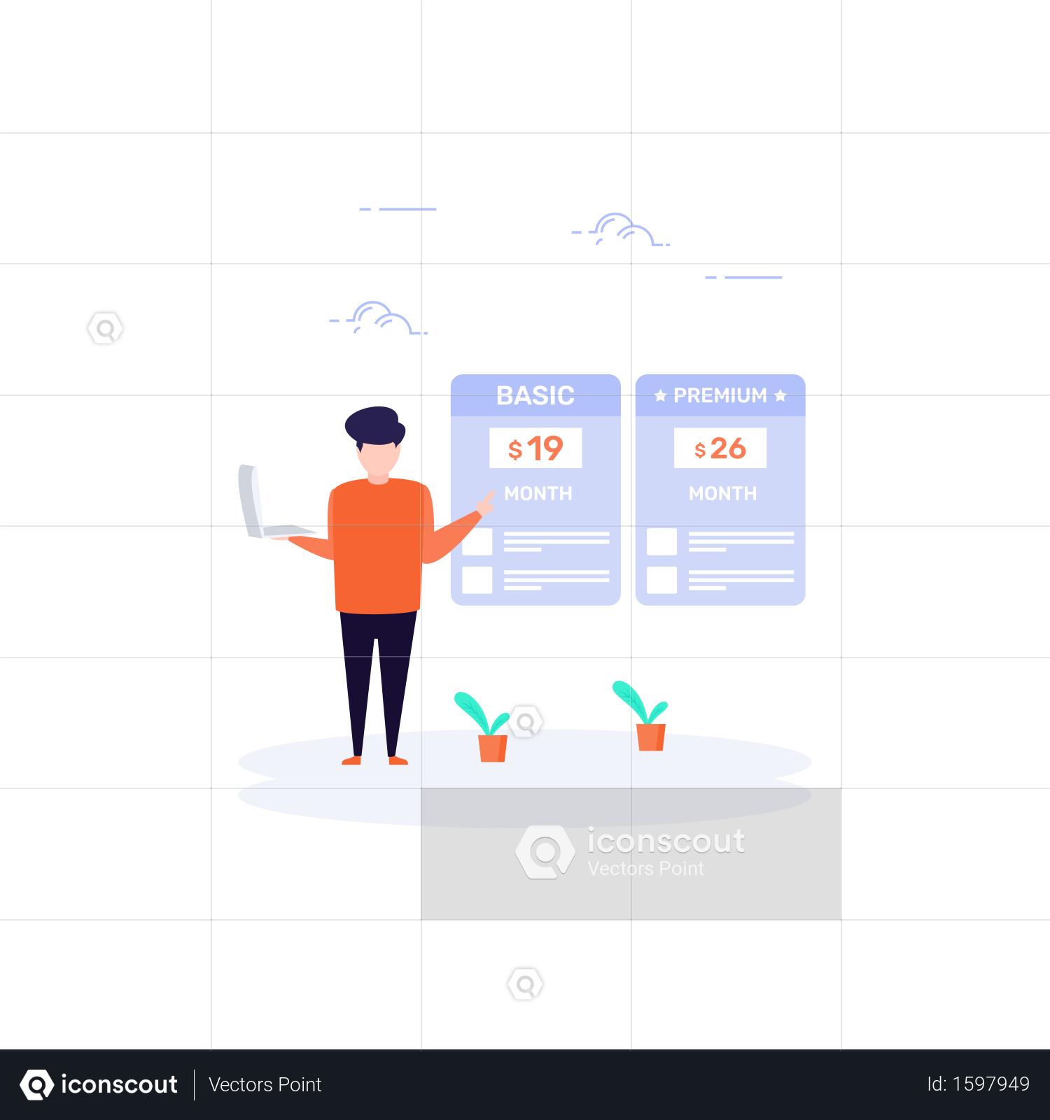 Purchase Plan mockup in website Illustration Website