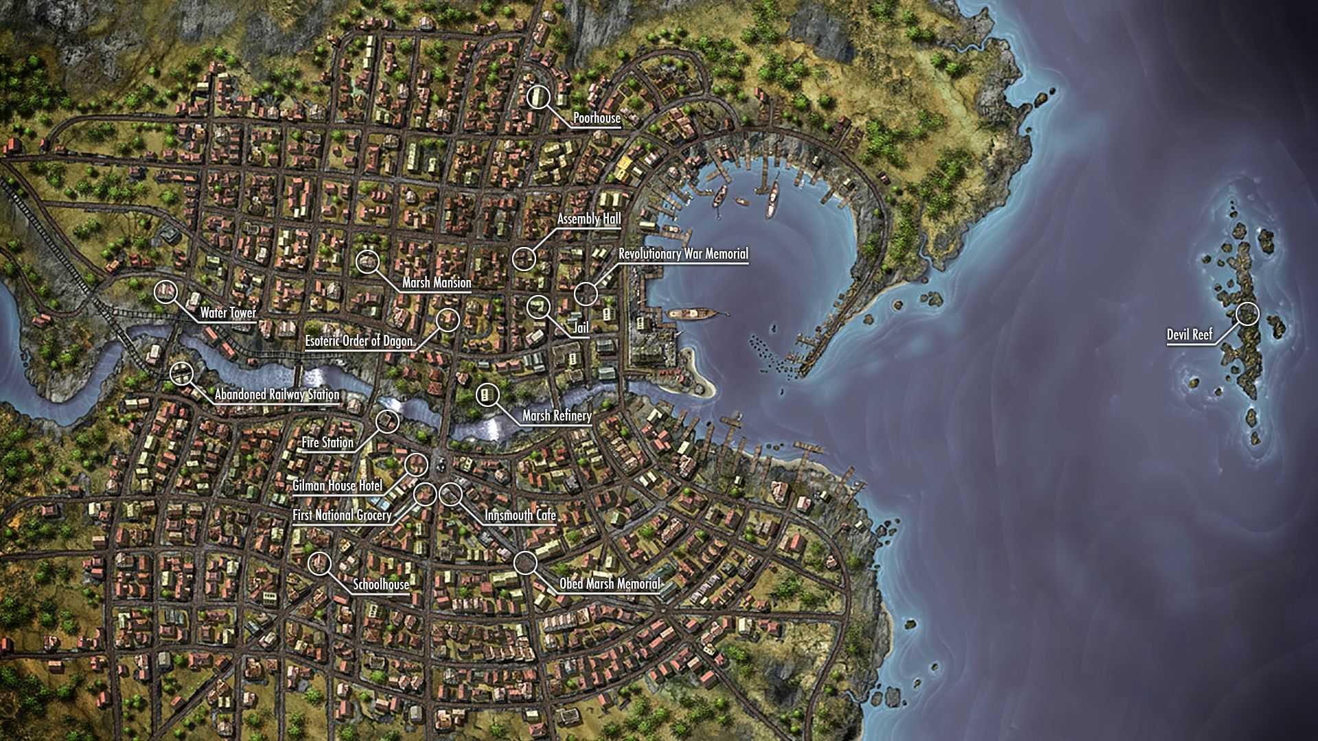 Lovecraft Innsmouth Map