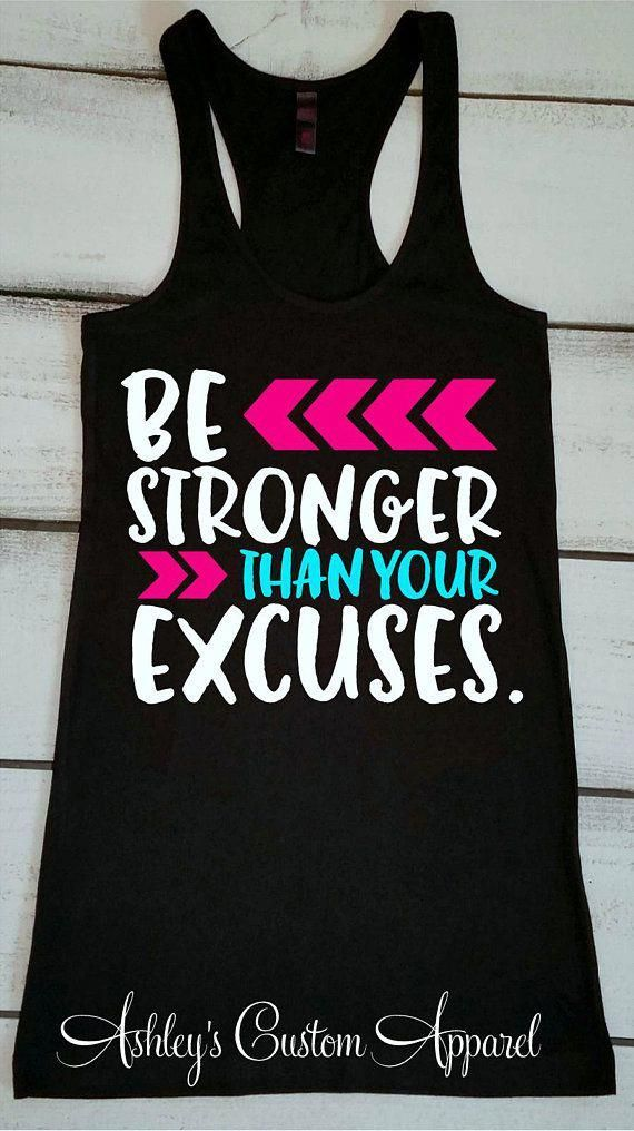 Inspirational Workout Shirts Be Stronger Than Your Excuses Motivational #fitness...  #Excuses #fitne...