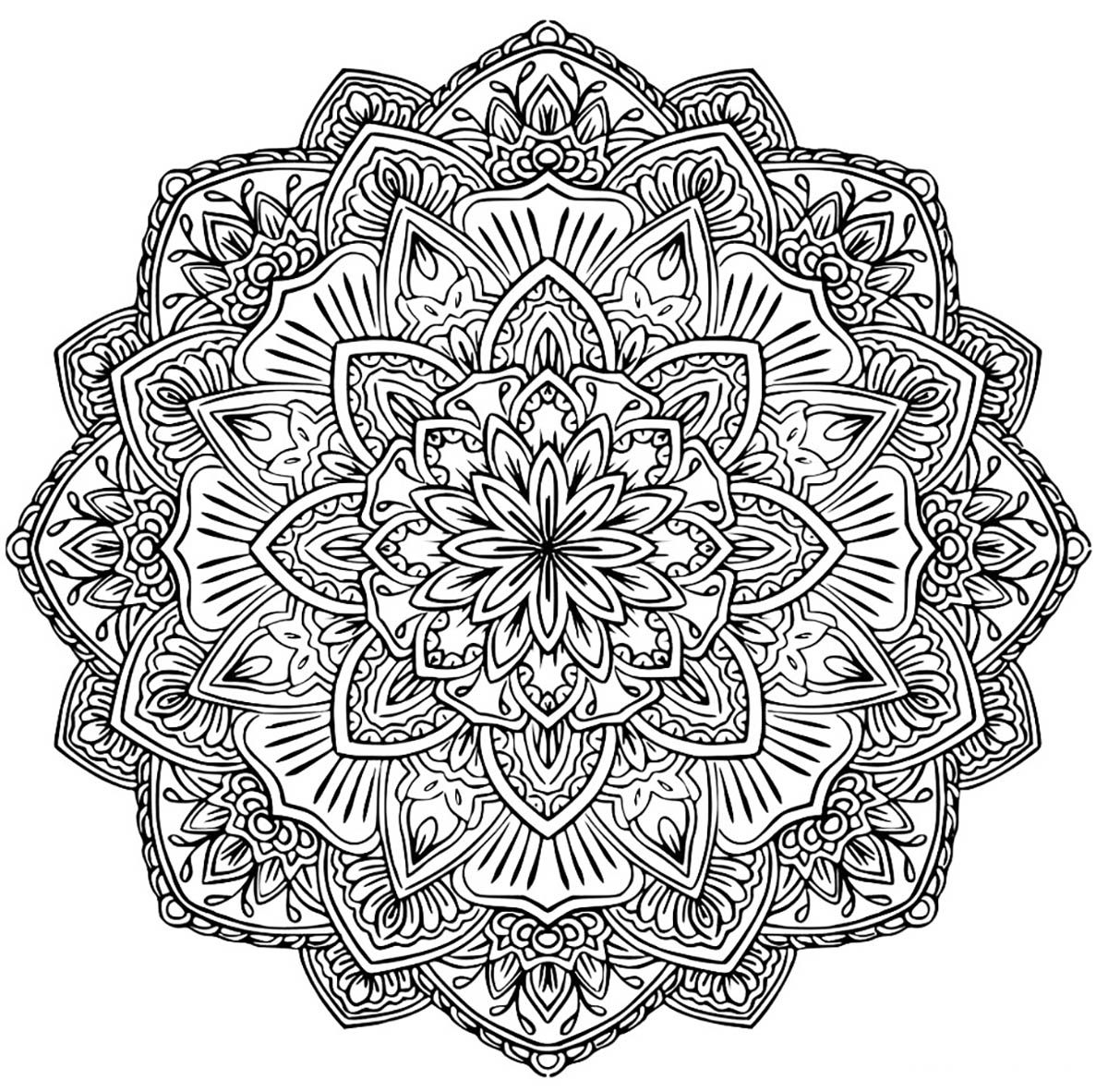 Mandala To Download Flower Of Happinessfrom The Gallery Difficult Coloriage Mandala Mandala A Colorier Mandala A Imprimer Gratuit