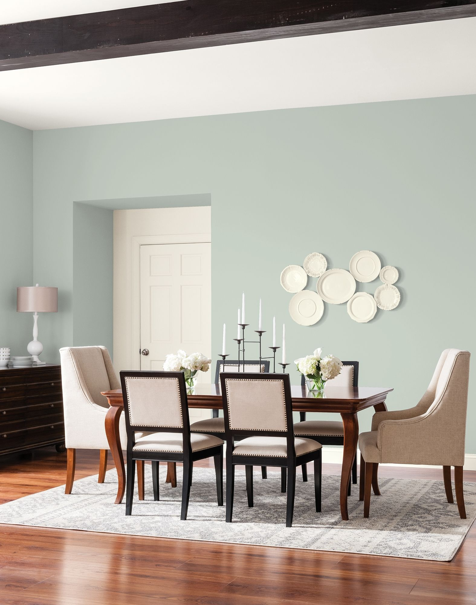 this soft hazy green is an excellent main wall for a on paint colors designers use id=81820
