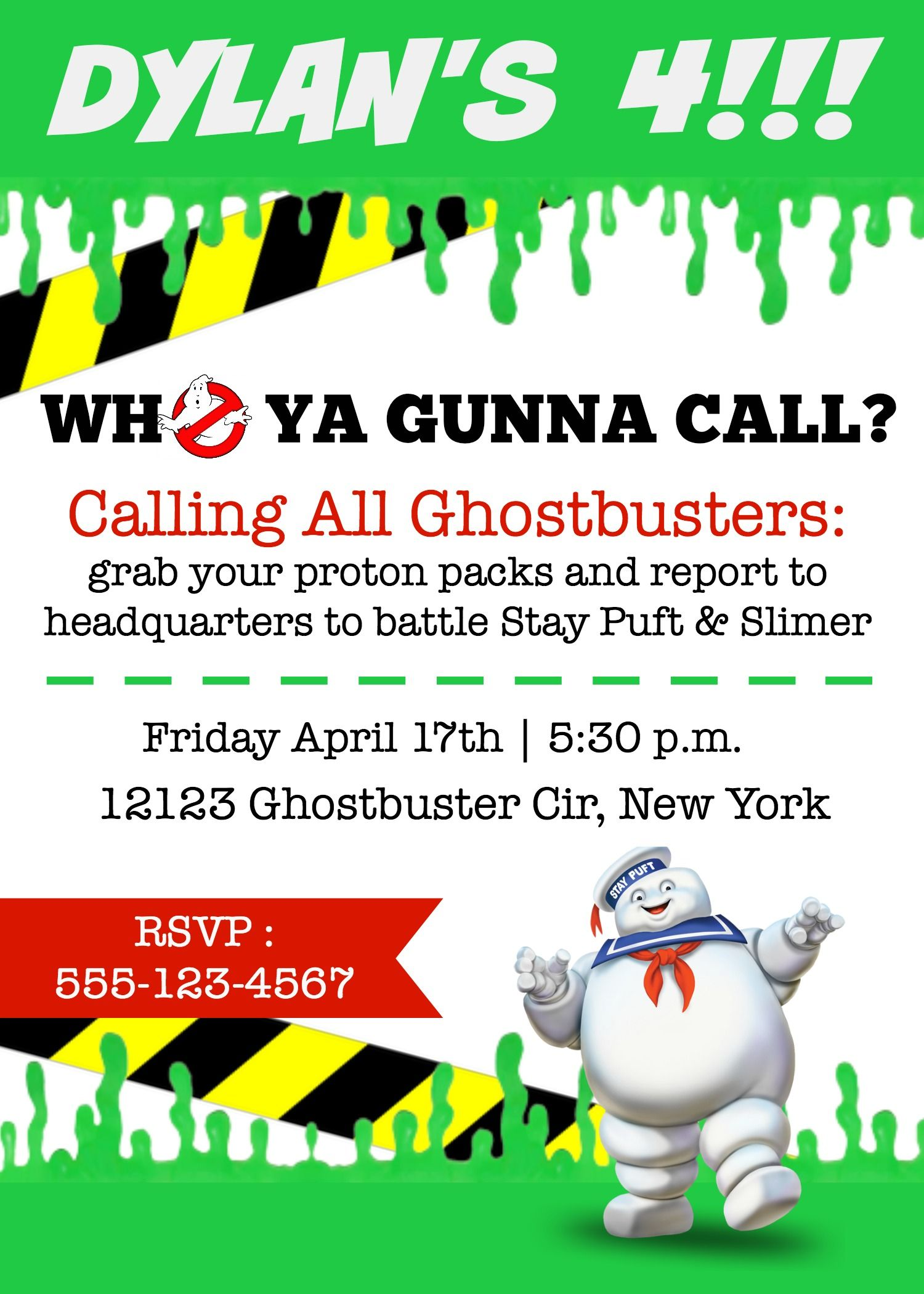 Ghostbusters Free Invite Kailons 4th Birthday Pinterest