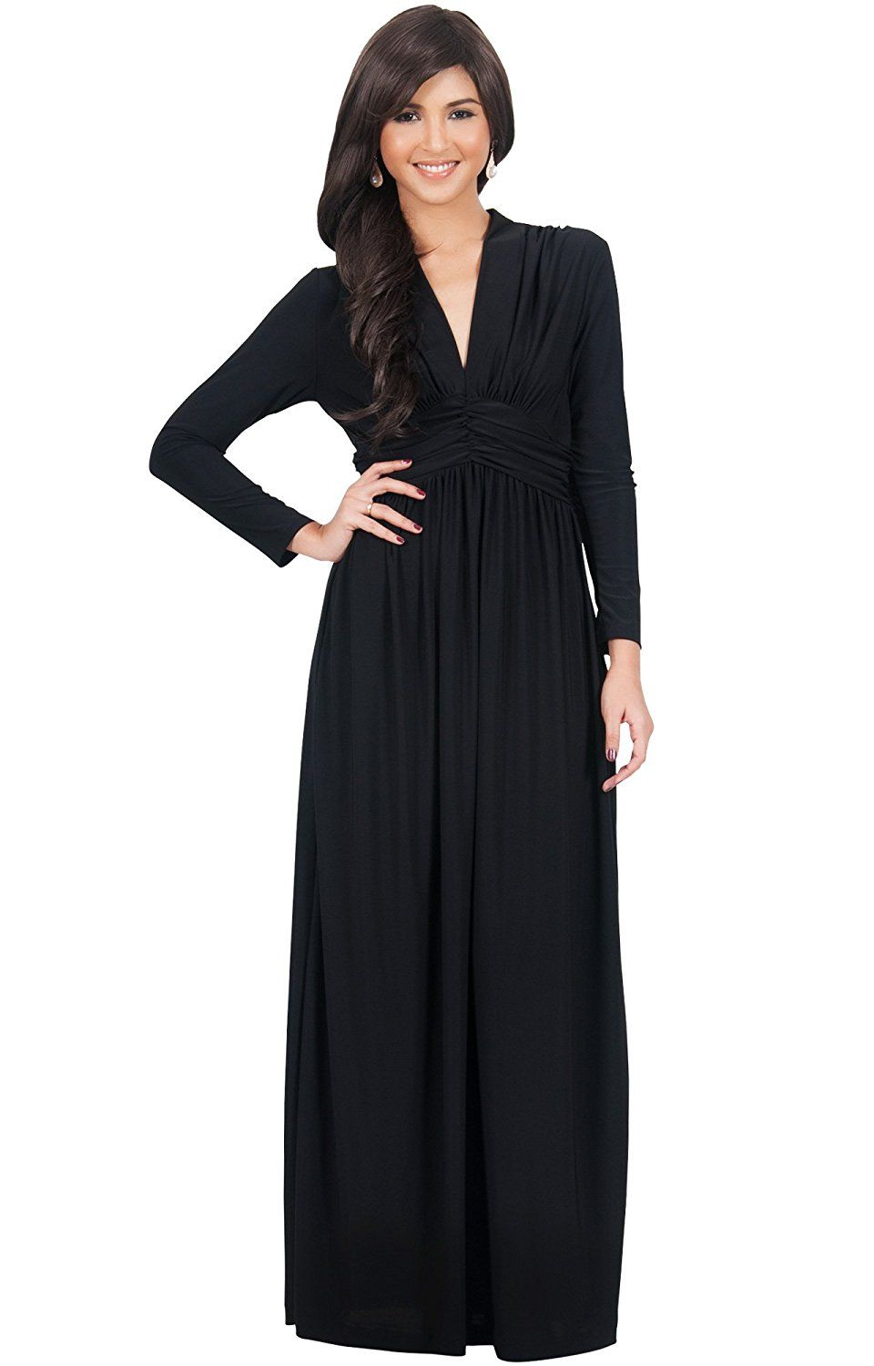 1fc988a26c9ce KOH KOH Womens Long Sleeve Vintage V-neck Fall Winter Formal Gown Maxi Dress  at Amazon Women's Clothing store: