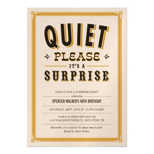 Quiet Vintage Surprise Party Invitations Surprise party - best of birthday invitation card online maker