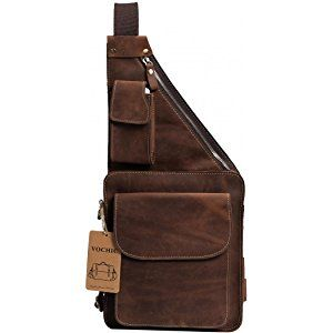 Mens Genuine Leather Buniess Crossbody Chest Pack Sling Backpack Shoulder Bag