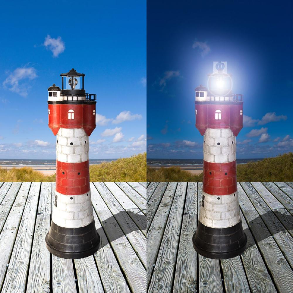 Solar Leuchtturm Roter Sand 50 Cm Mit Led Beleuchtung Solar Leuchtturm Gartendekoration Solarleuchten