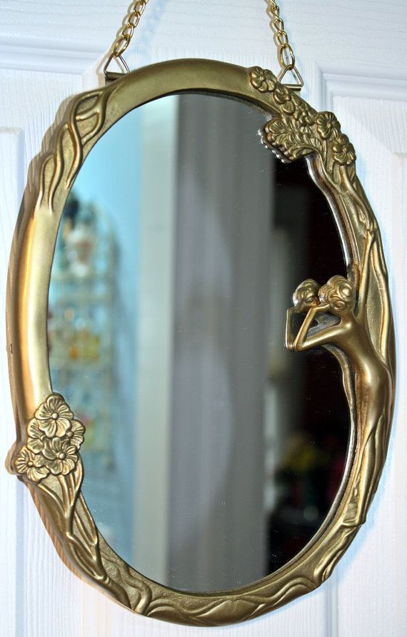 Mirror, Art Deco, Art Nouveau, Lady, Brass, Reflecting ...