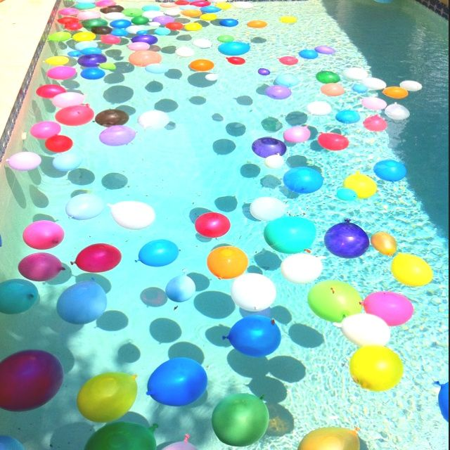 Pool Decorating Ideas pool in low deck patio Pool Party Decorating Ideas Floating Water Balloons