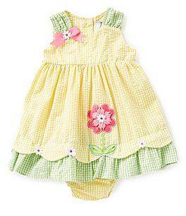b5a94bdb3284 Rare Editions 12-24 Months Flower-Appliqued Checked Dress