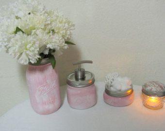 Pink Mason Ball Jar Bath Accessories for Baby Nursery