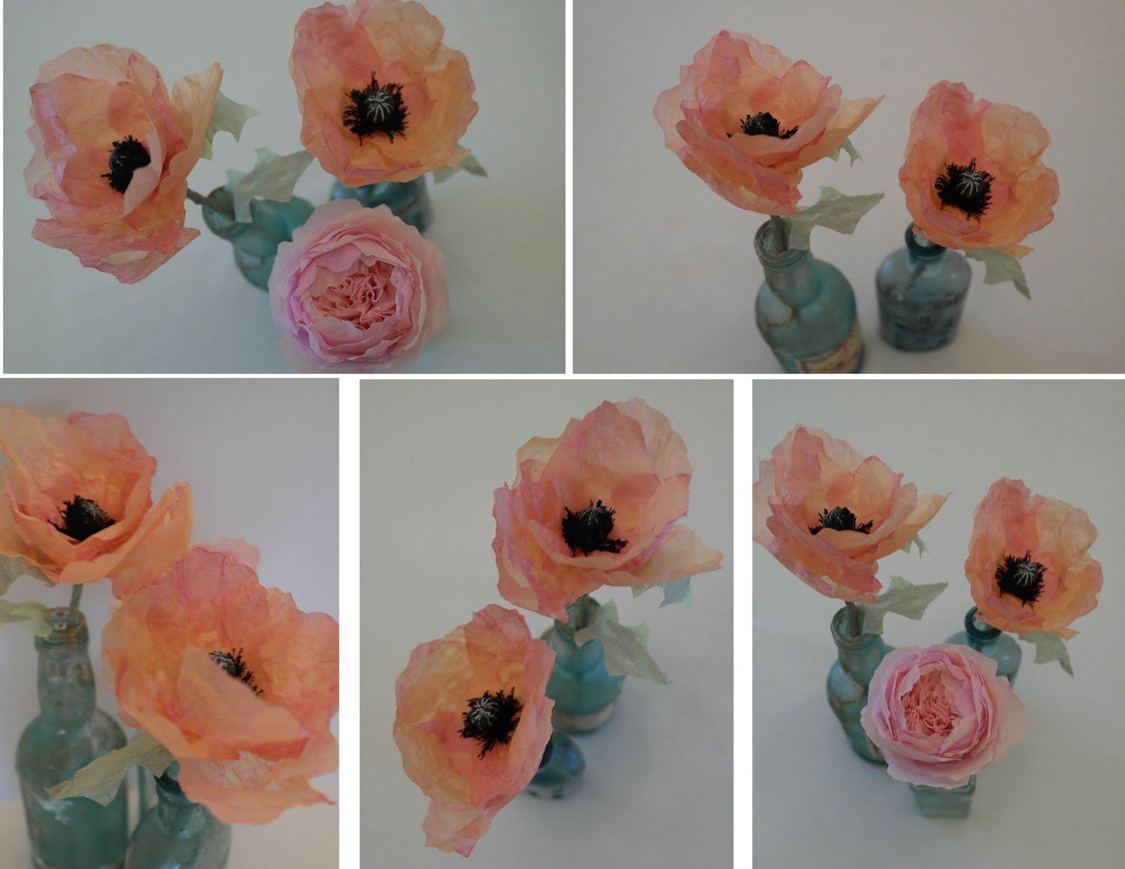 Twiggstudios peach tissue paper poppies tutorial  Crafts