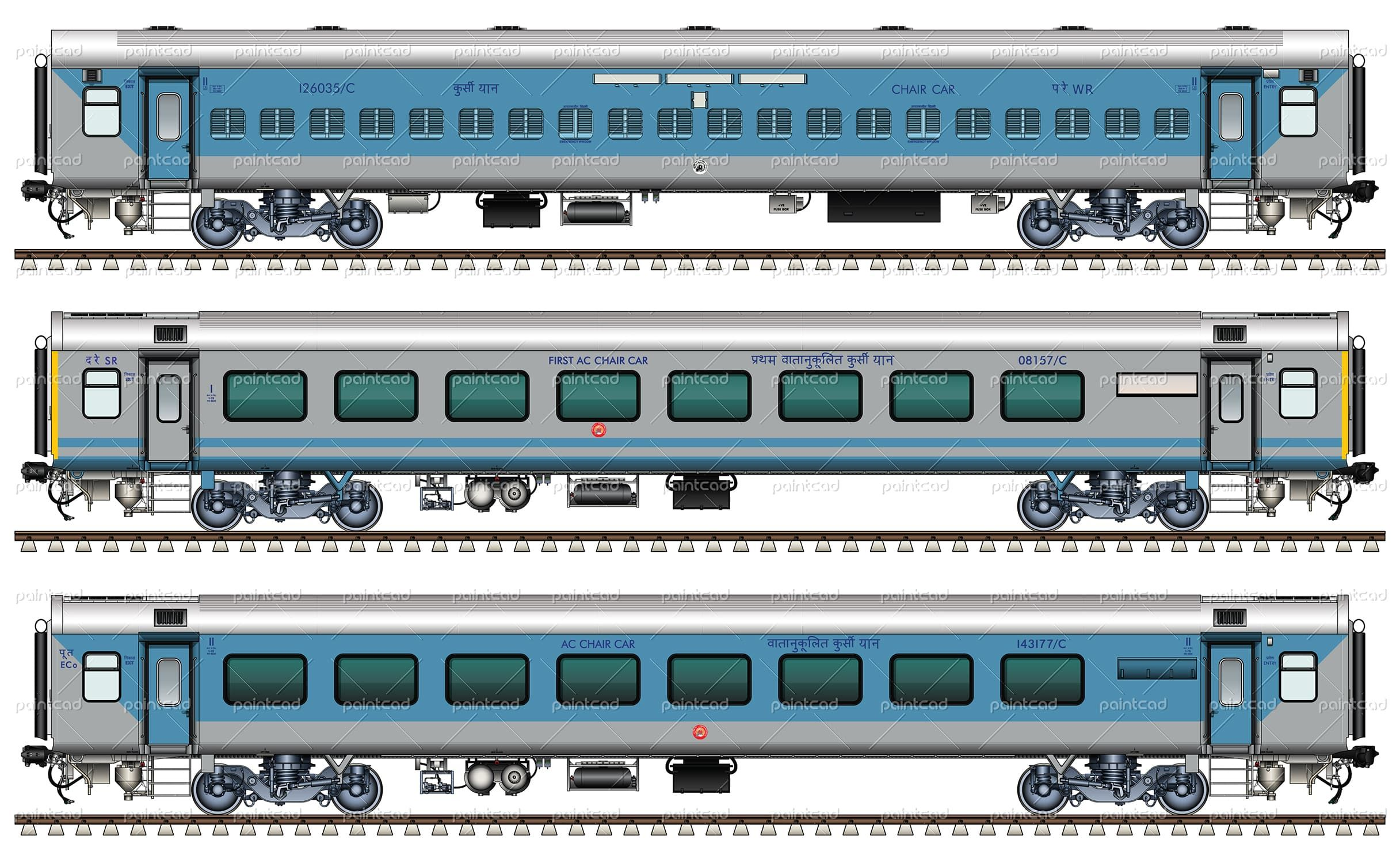 non and ac chair cars 1st and 2nd class by indian railways chemin