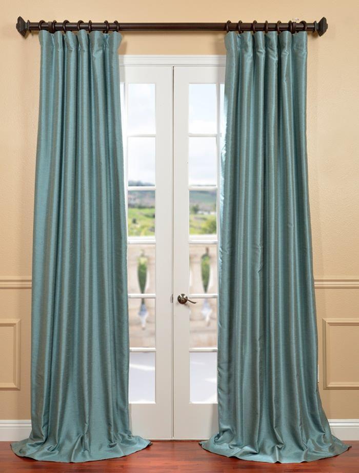 Blue Agave Yarn Dyed Faux Dupioni Silk Curtain Silk Curtains Half Price Drapes Drapes Curtains Faux dupioni silk curtains