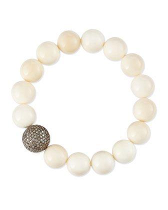 3aa0aaff685 12mm Bone & 14mm Single Pave Diamond Beaded Bracelet by Sheryl Lowe at  Neiman Marcus.