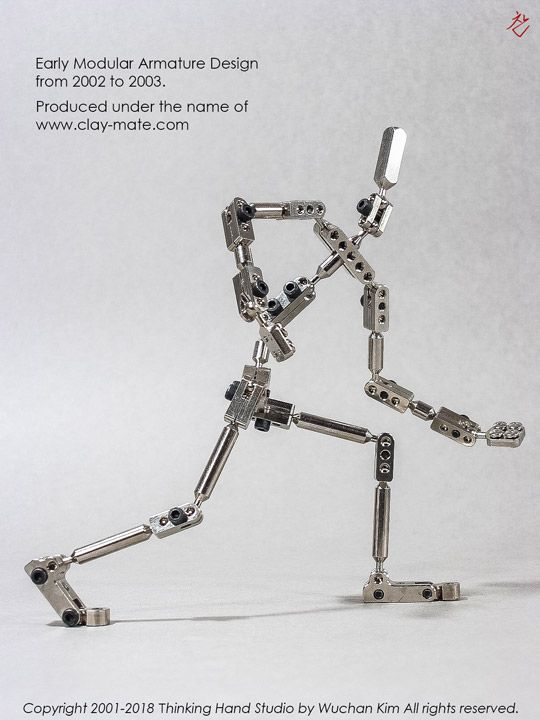 Early Modular Armature Design from 2002 to 2003. Produced under the name of clay-mate.com.  This design was applied in armatures I made for <Davey & Goliath's Snowboard Christmas> by Clokey Productions. #Armature #Stopmotion