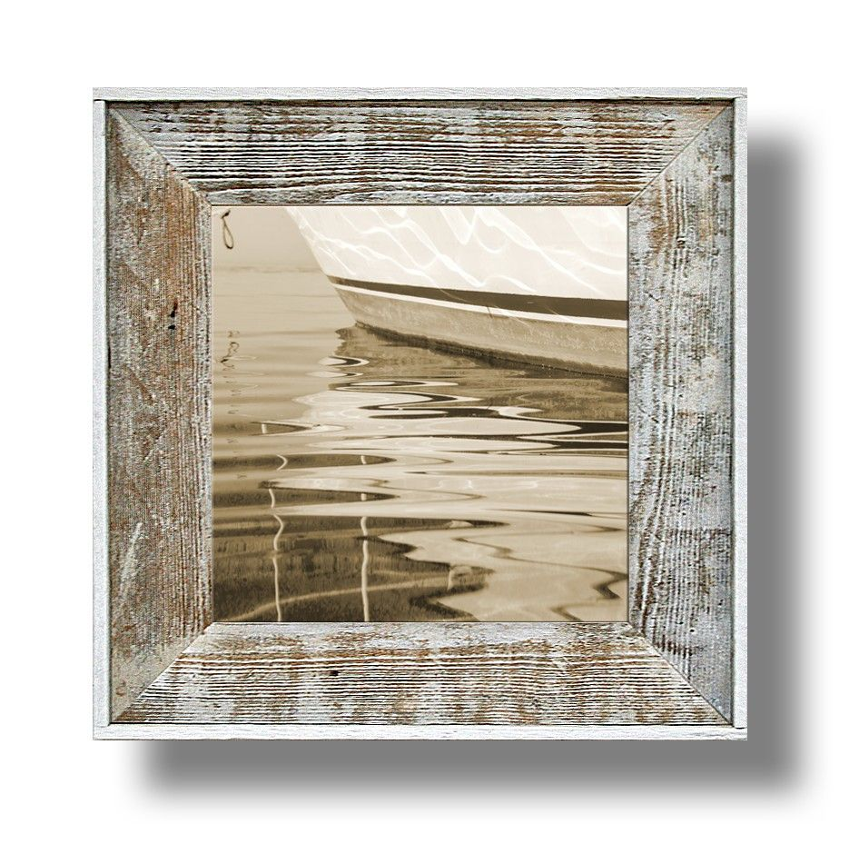 Boat Reflection Artwork 41 14 X 14 Canvas Print In A 22 X 22 White Washed Frame Cl2214w 41 Picture Frames 10 Picture Frame