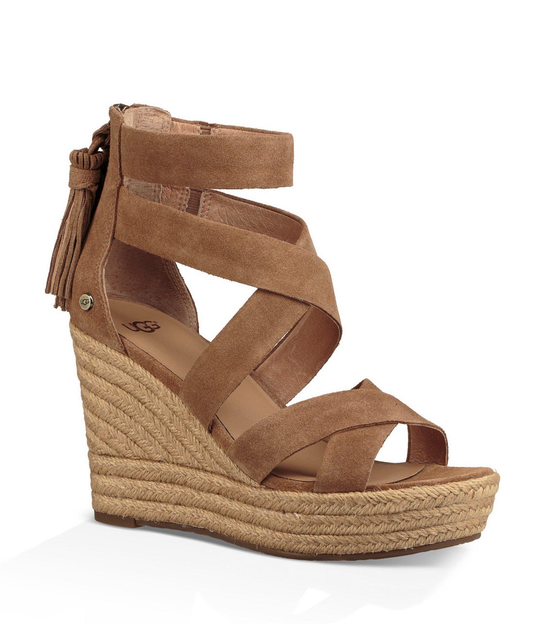 bd1e869eb39 UGG Raquel Suede Back Zip Tassel Espadrille Wedge Sandals  Dillards ...