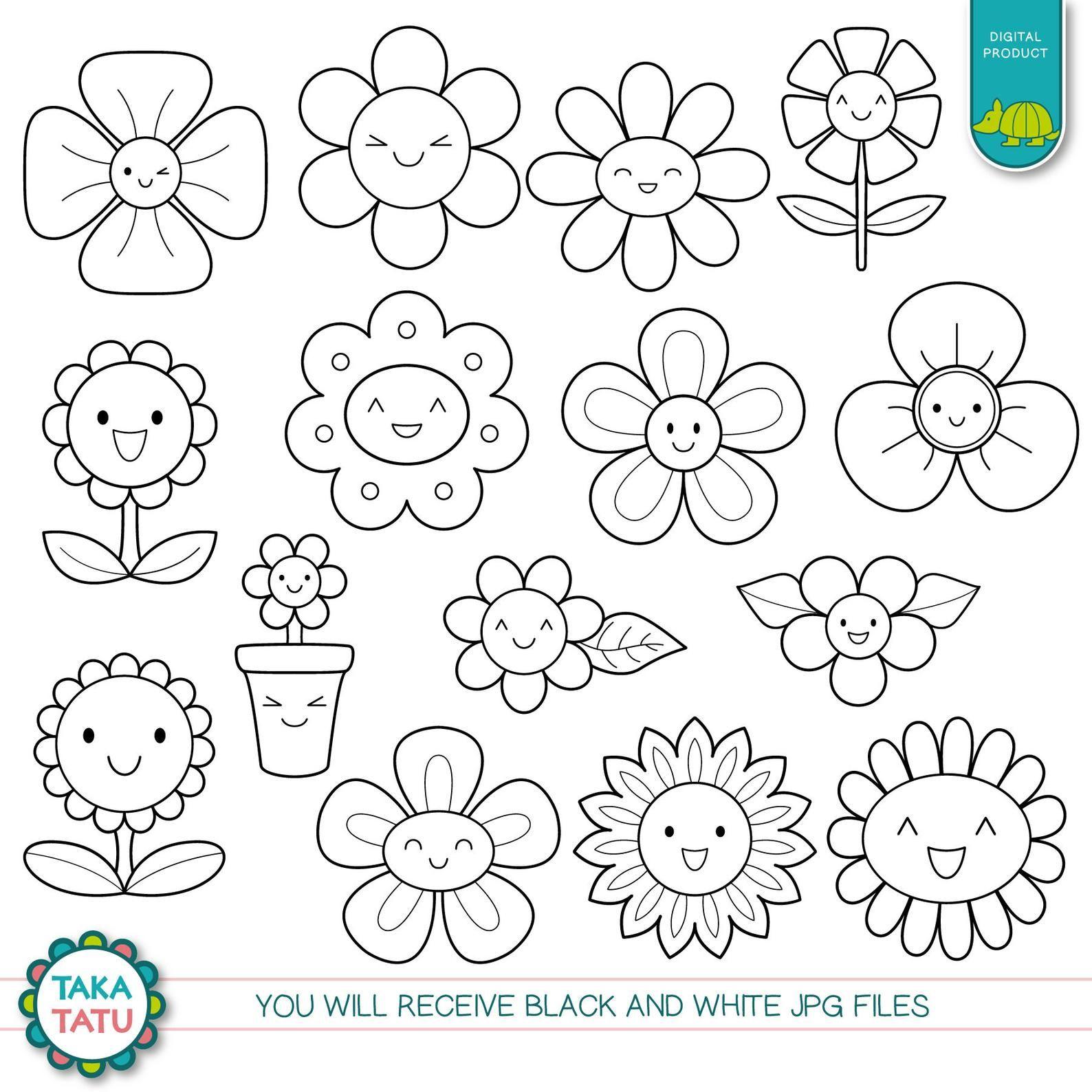 Kawaii Flowers Digital Stamp Black And White Clipart Etsy Digital Stamps Flower Printable Clip Art