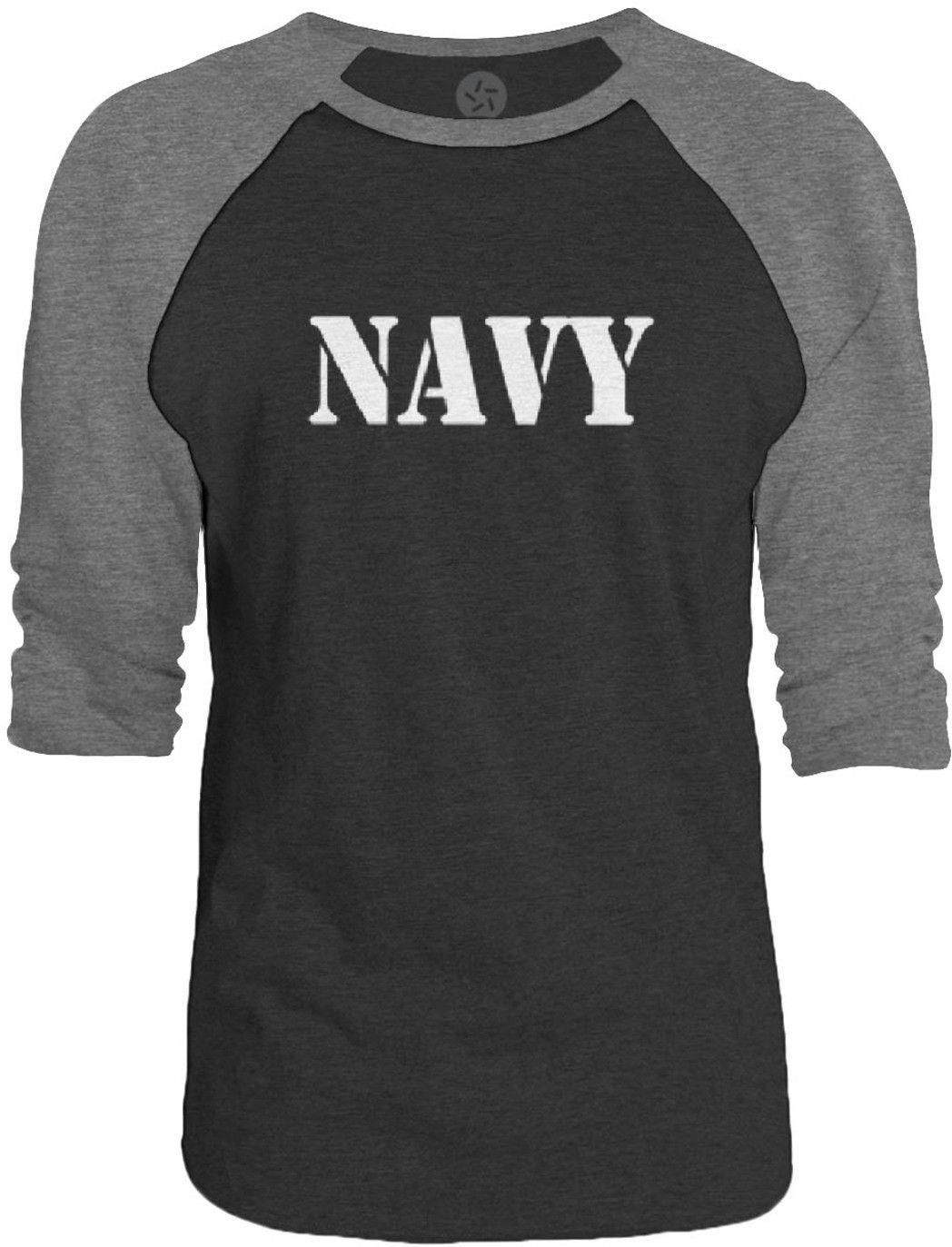 Big Texas NAVY Stencil (White) 3/4-Sleeve Raglan Baseball T-Shirt