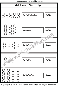 multiplication add and multiply repeated addition one worksheet printable worksheets. Black Bedroom Furniture Sets. Home Design Ideas