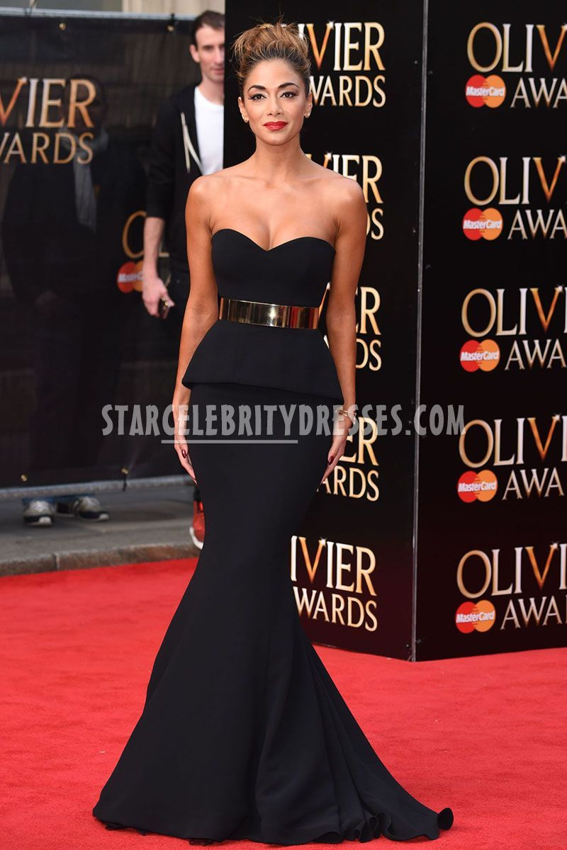 Nicole Scherzinger Black Strapless Celebrity Prom Gown Gold Belt at ...