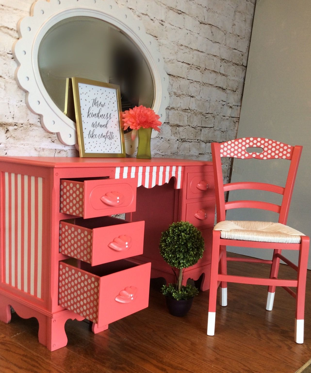 Cheery Coral Desk With Polka Dot Drawers