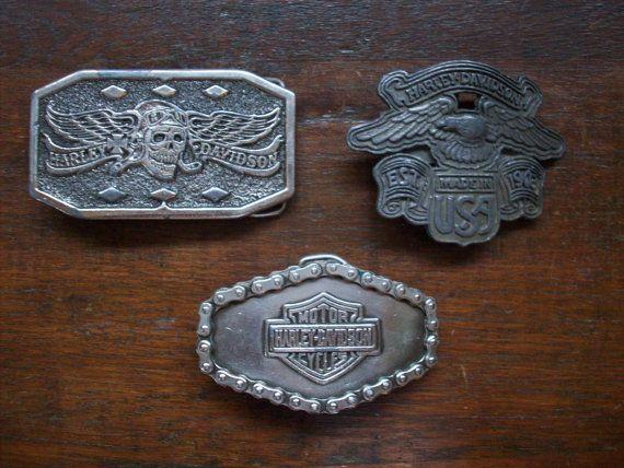 vintage harley davidson eagle belt buckle   vintage harley