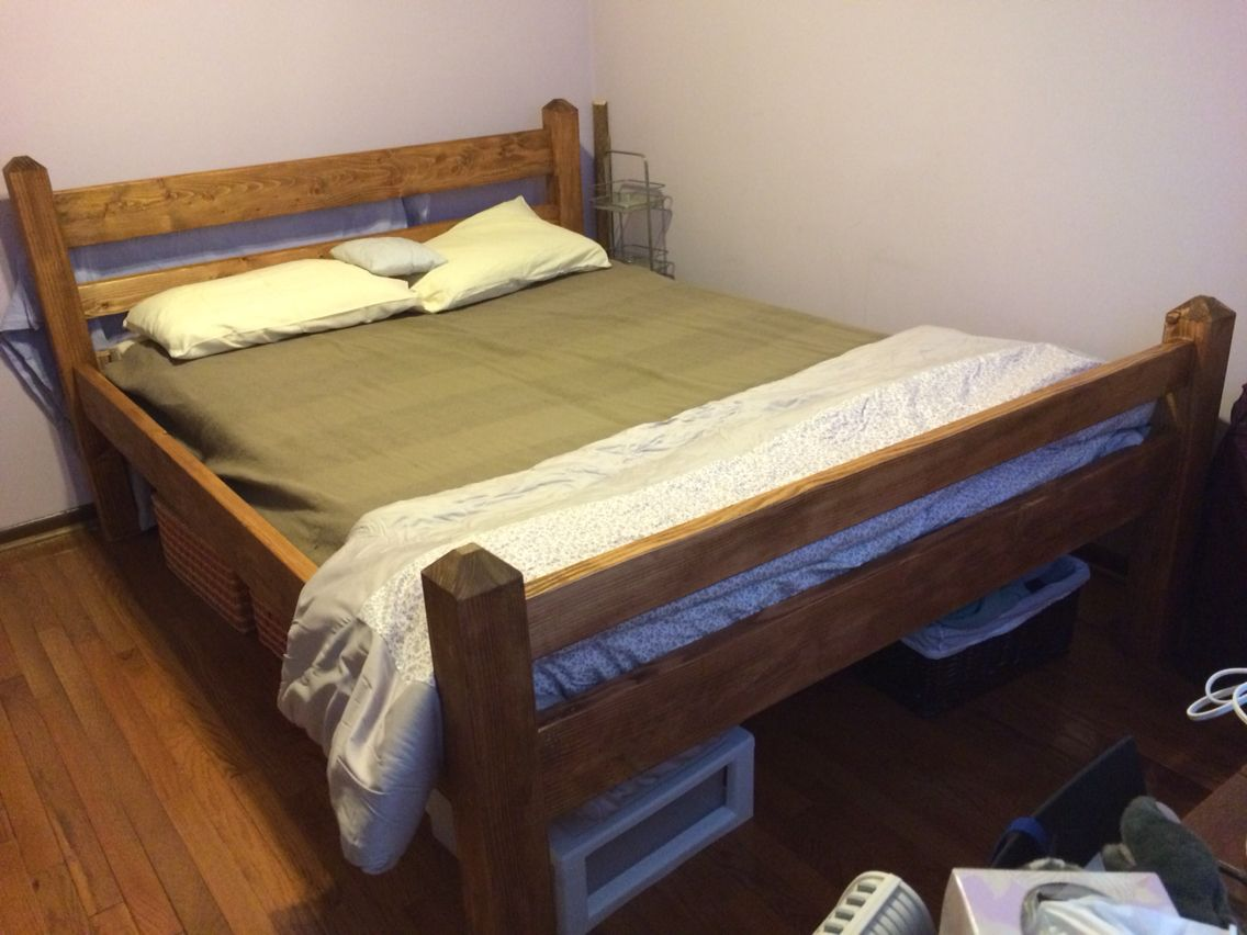 diy queen size platform bed frame from 2x6 2x4 pine and 4x4 fir stained with early american. Black Bedroom Furniture Sets. Home Design Ideas
