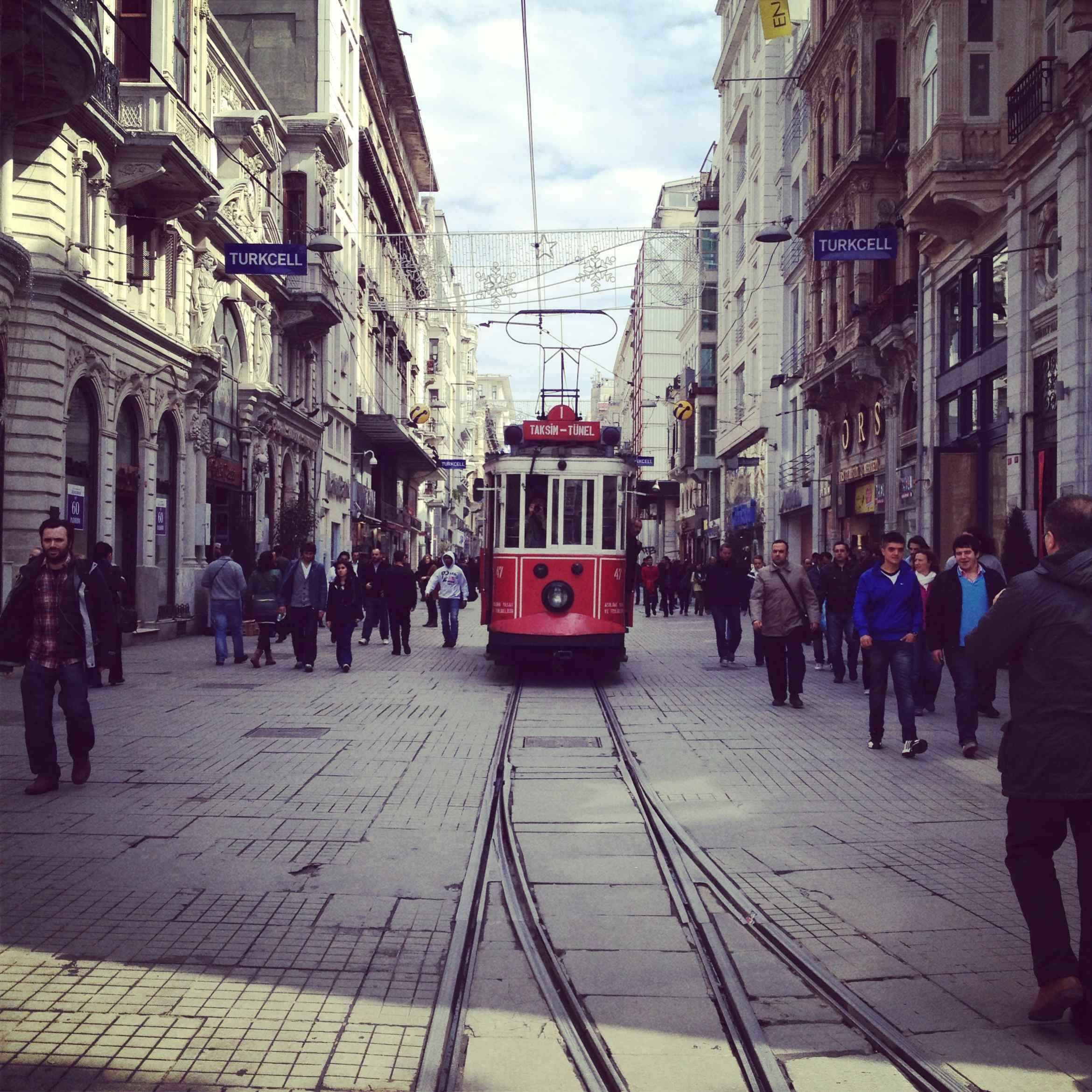 Red Tram in Istiklal Avenue