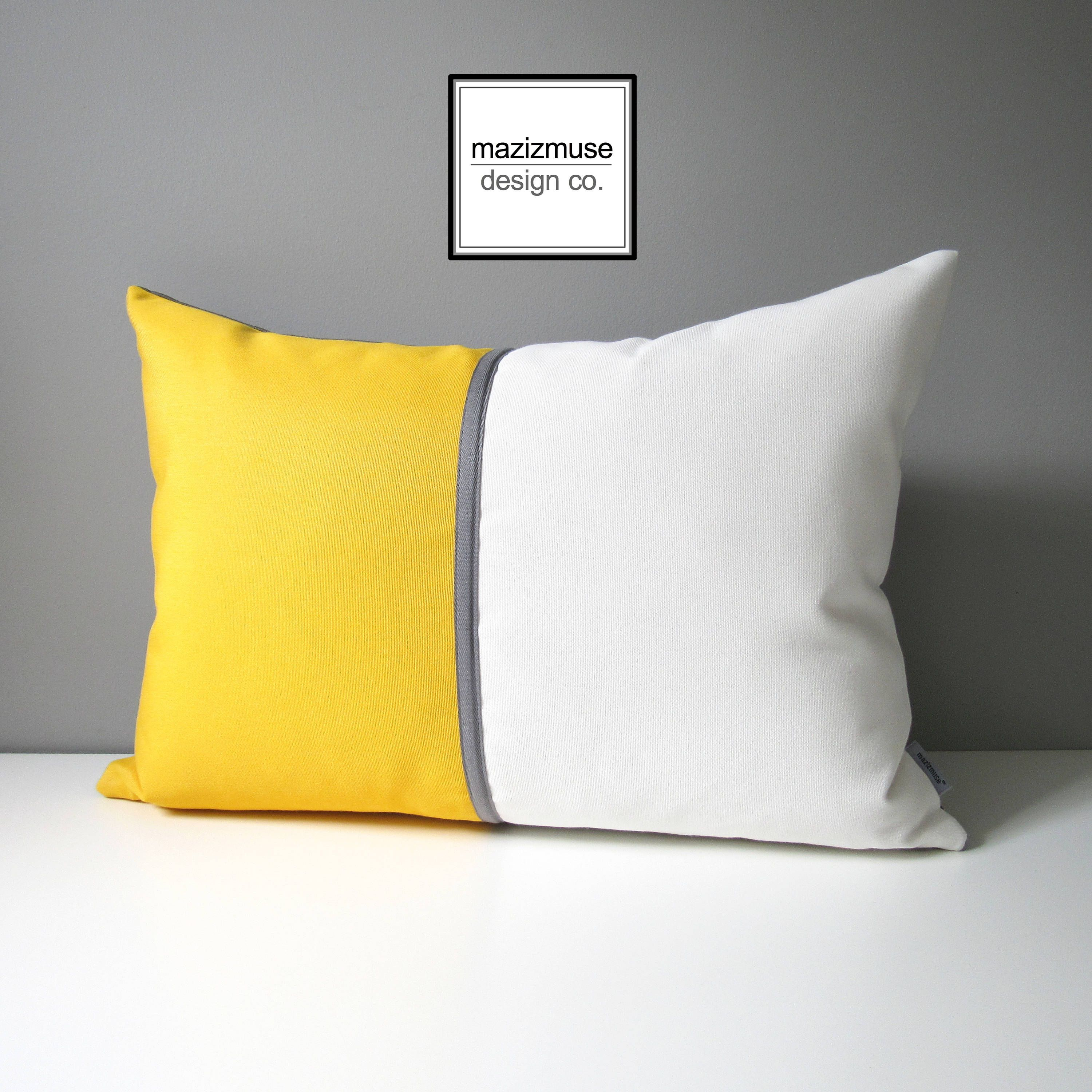 Decorative Yellow White Outdoor Pillow Cover Modern Color Block Pillow Cover Sunflower Yellow White And Grey Sunbrella Cushion Cover Outdoor Pillow Covers