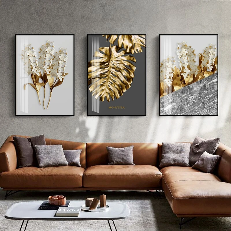 Golden Abstract Leaf Flower Wall Art Canvas Painting Home Decoration Gold Wall Art Leaf Wall Art Wall Art Canvas Painting