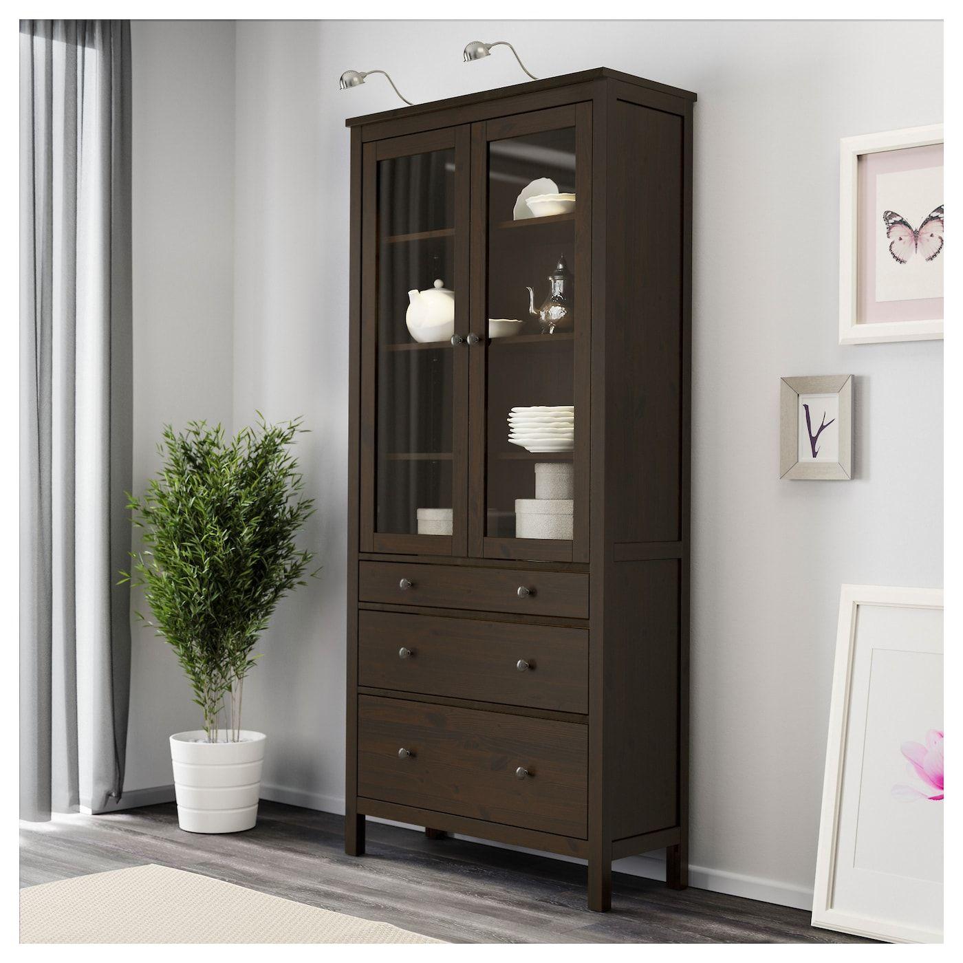 HEMNES Glass-door cabinet with 3 drawers - black-brown 35 ...