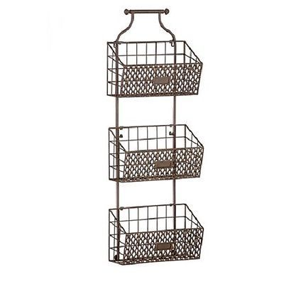Lovely Rustic Antiqued Finish Metal Steel Wire Hanging 3 Basket Wall Organizer  Storage