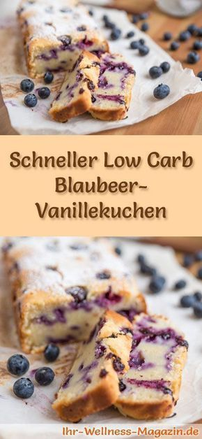 Photo of Juicy, fast low carb blueberry vanilla cake – recipe without sugar