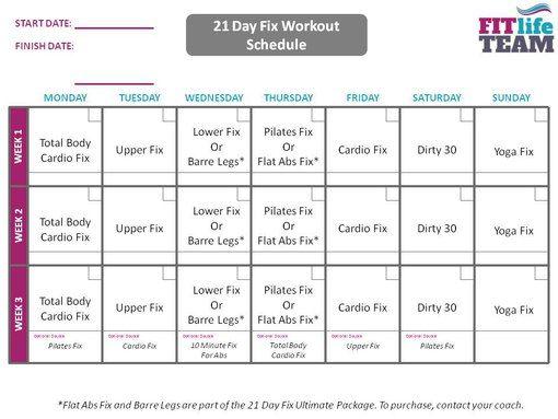 Workout Calendar Template 21 Day Fix
