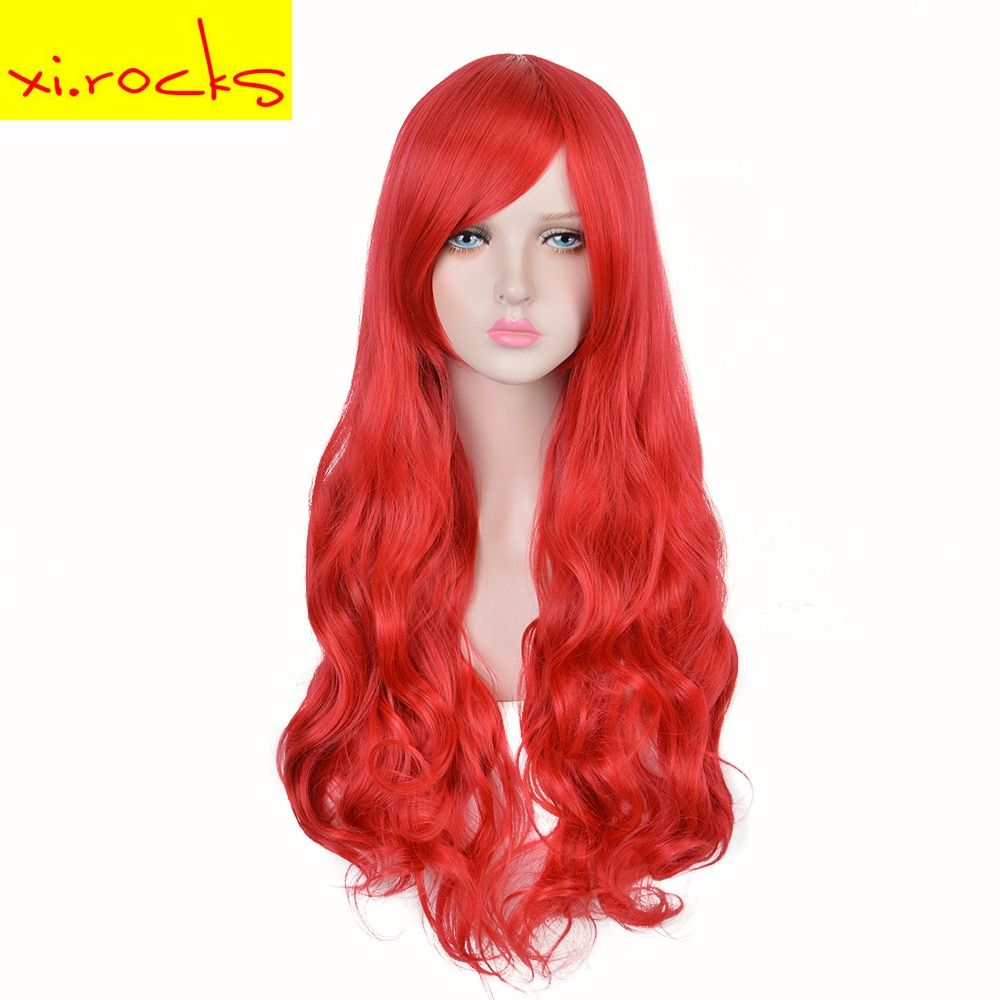 3127 Xi.rocks Lady's Long Curly Bright Red Synthetic hairstyle Makeup Halloween Cosplay Wigs The Li