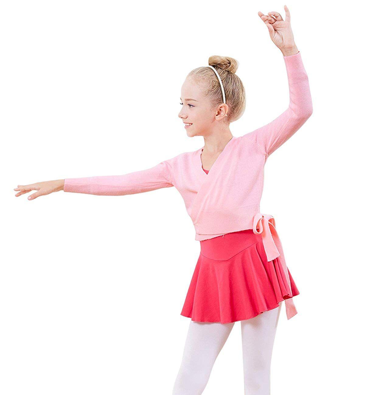 ce15a9e40 PINKDAA Kids Girl Dance Sweater Ballerina Long Sleeve Knit Wrap Top ...