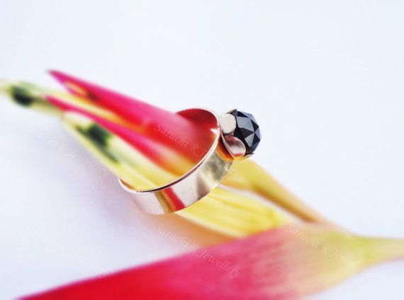 Smoky Quartz Gold Filled Ring Flower Ring by SaruchiRJewellery