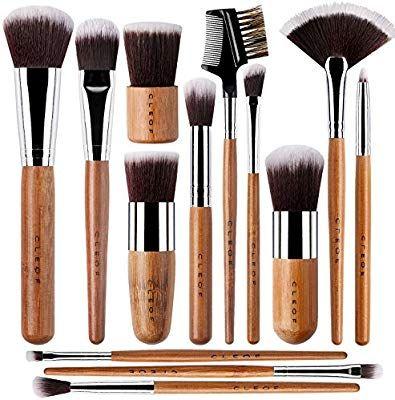 13 bamboo makeup brushes professional set  vegan