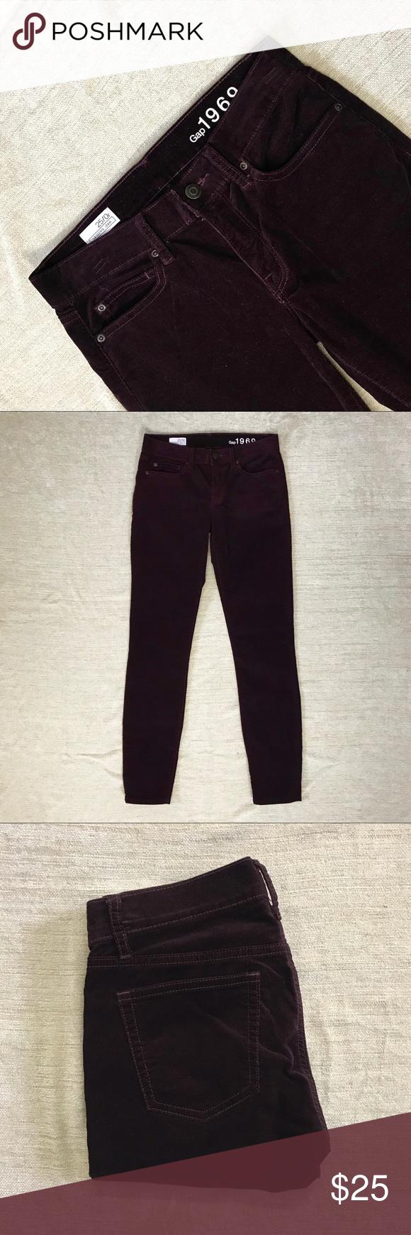 Gap Maroon Corduroy Legging Jeans Cotton Rich 4pc Size 25 0r Waist 28 Rise 8 Inseam 29 78 22 Elastane Like New