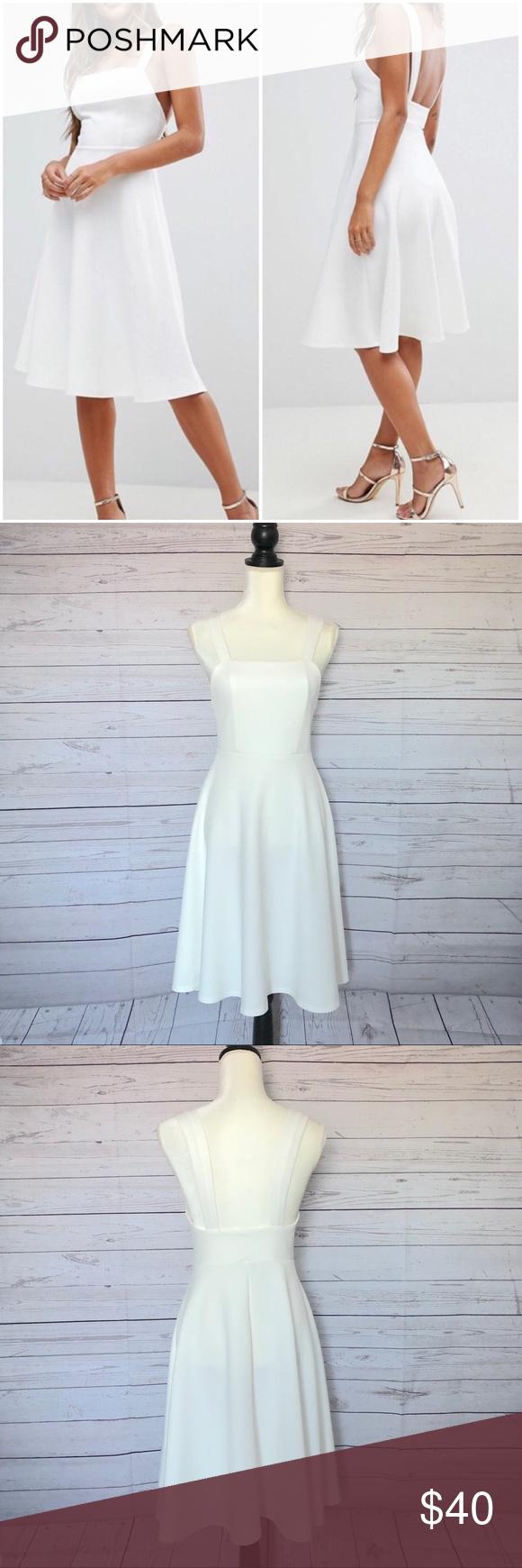 Asos White Square Neck Midi Prom Dress Dress Sz 6 Prom Dresses Dresses Square Neck [ 1740 x 580 Pixel ]