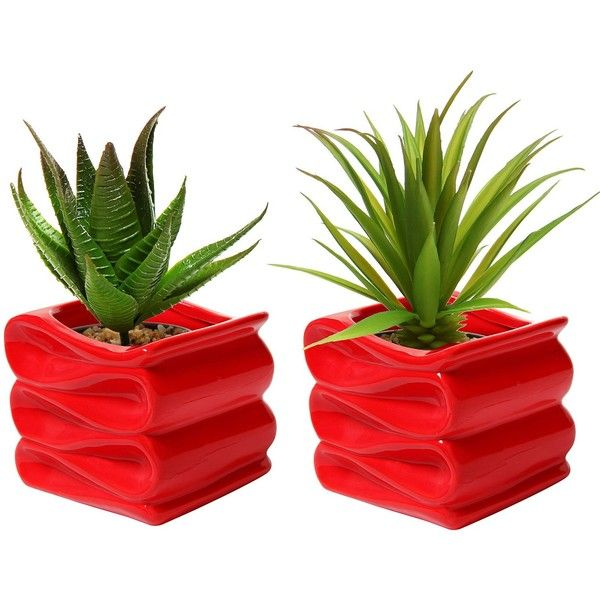 MyGift Set Of 2 Modern Decorative Folded Design Small Ceramic Plant... ($28