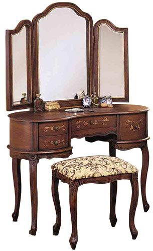 Powell Toscana Bedroom Vanity Set with Table, Mirror and Bench in - Bedroom Vanity Table
